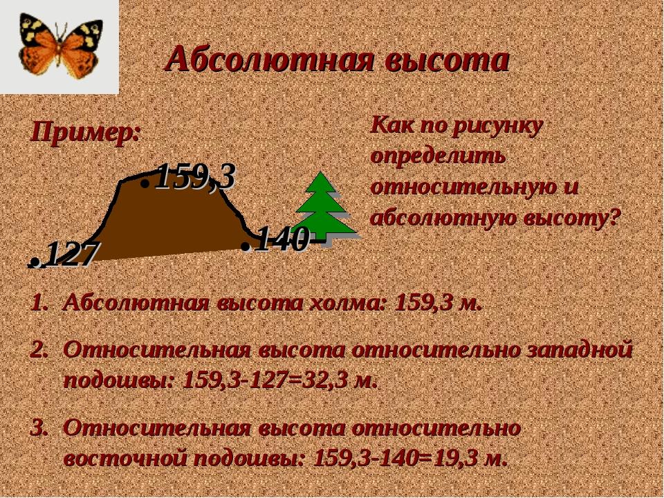 Абсолютная высота Пример: Как по рисунку определить относительную и абсолютну...