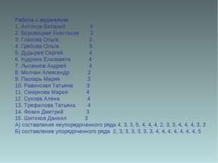 Работа с журналом: 1. Антонов Виталий 4 2. Боровицкая Анастасия 3 3. Глазова
