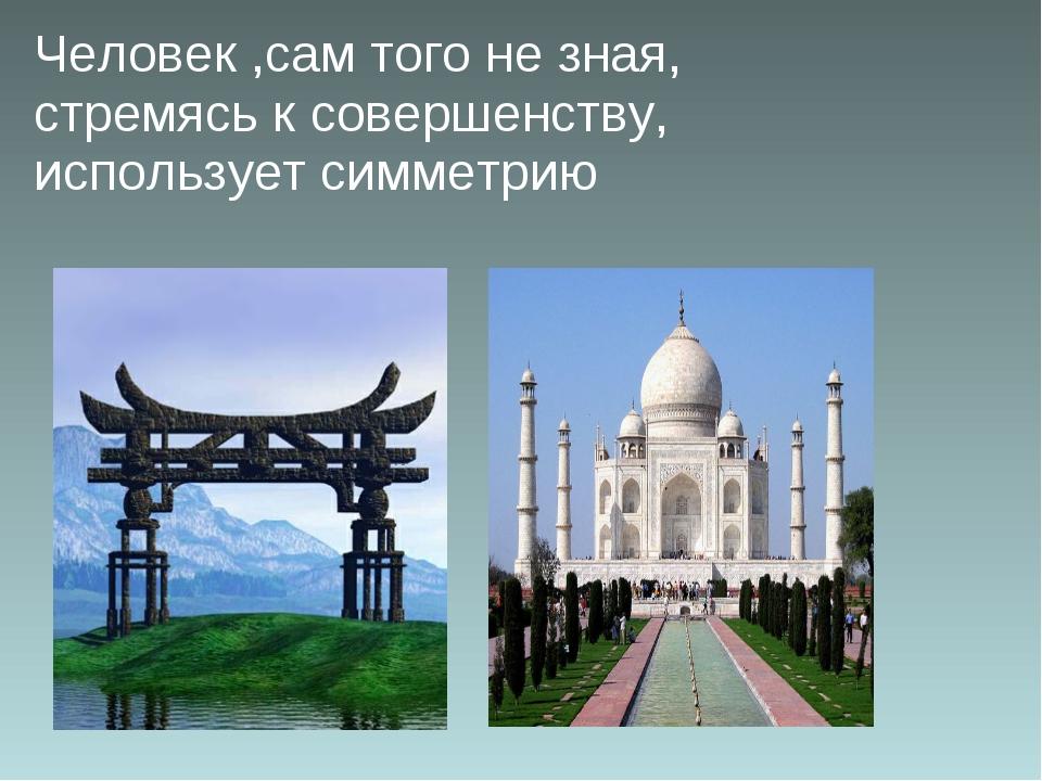 Человек ,сам того не зная, стремясь к совершенству, использует симметрию