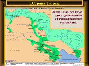 1.Страна 2-х рек. Около 5 тыс. лет назад здесь одновременно с Египтом возникл