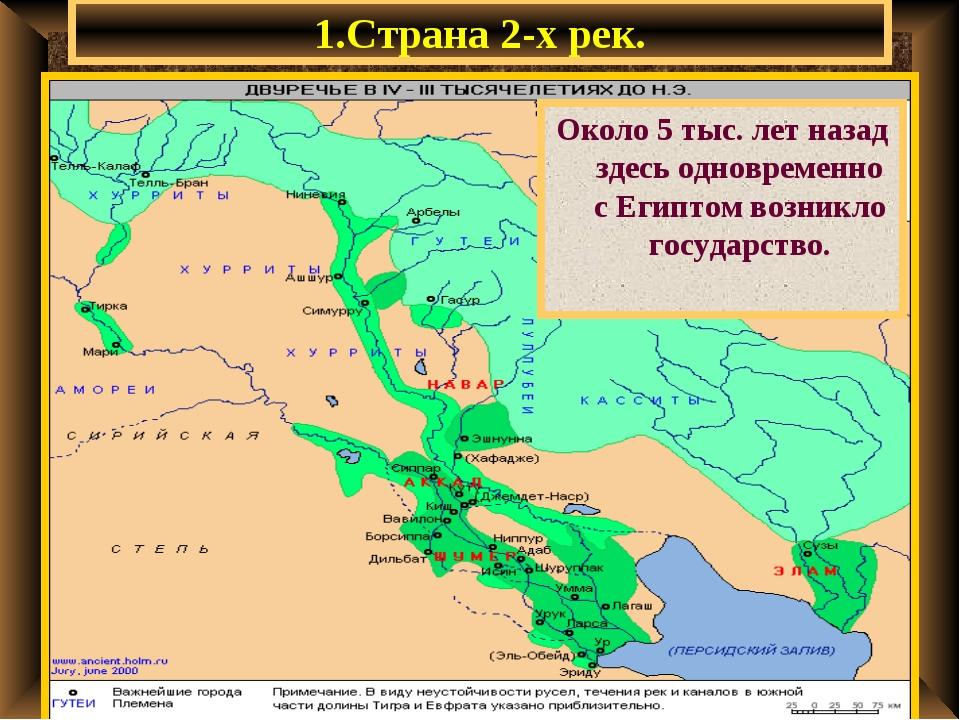 1.Страна 2-х рек. Около 5 тыс. лет назад здесь одновременно с Египтом возникл...
