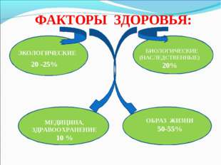 ФАКТОРЫ ЗДОРОВЬЯ: ЭКОЛОГИЧЕСКИЕ 20 -25% БИОЛОГИЧЕСКИЕ (НАСЛЕДСТВЕННЫЕ) 20% МЕ