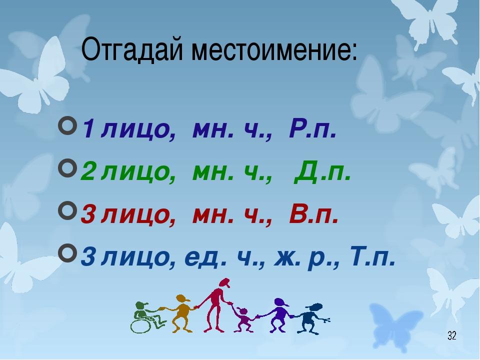 Отгадай местоимение: 1 лицо, мн. ч., Р.п. 2 лицо, мн. ч., Д.п. 3 лицо, мн. ч...