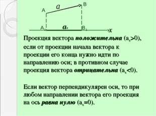 Проекция вектора положительна (ах>0), если от проекции начала вектора к проек