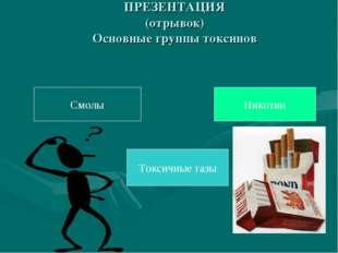 ПРЕЗЕНТАЦИЯ (отрывок) Основные группы токсинов Смолы Токсичные газы Никотин