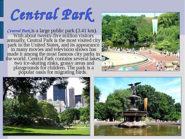 Central Park is a large public park (3.41 km). With about twenty-five millio...