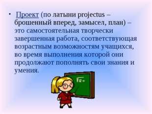 Проект (по латыни projectus – брошенный вперед, замысел, план) – это самосто