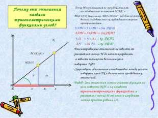 Почему эти отношения назвали тригонометрическими функциями углов? Точка М пер