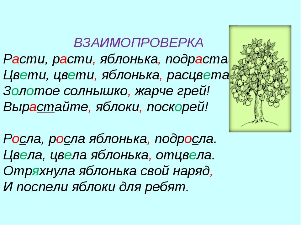 ВЗАИМОПРОВЕРКА Расти, расти, яблонька, подрастай. Цвети, цвети, яблонька, ра...