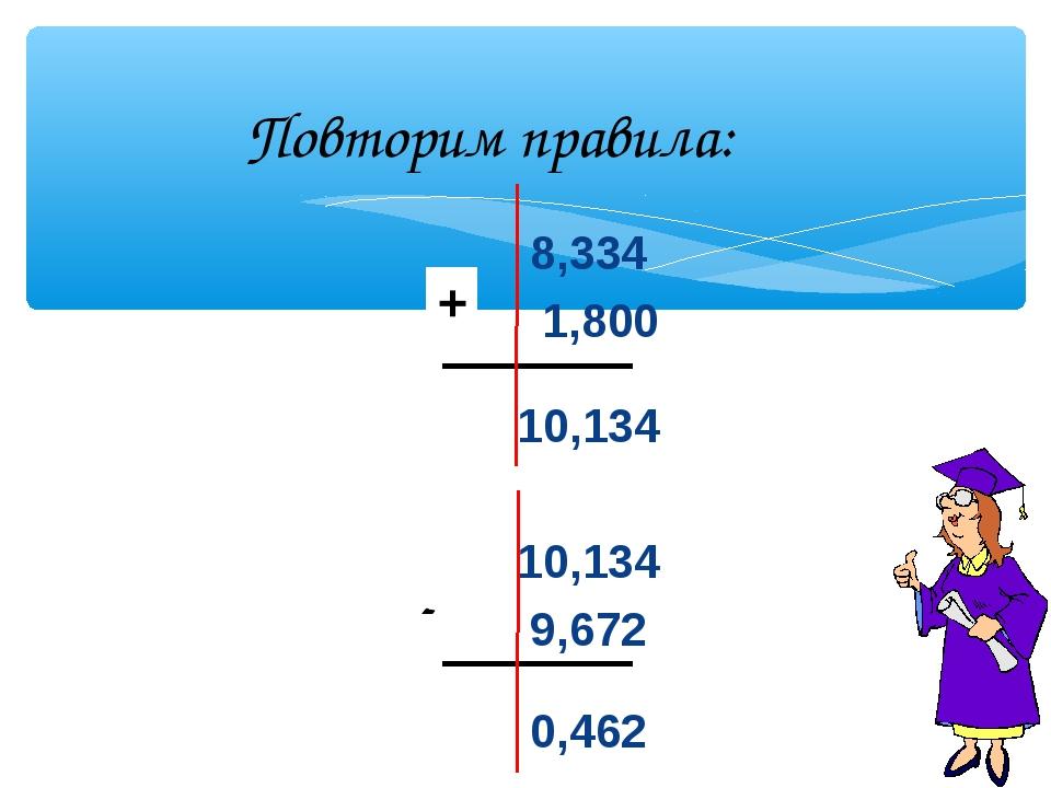8,334 1,800 10,134 10,134 9,672 0,462 + - Повторим правила: