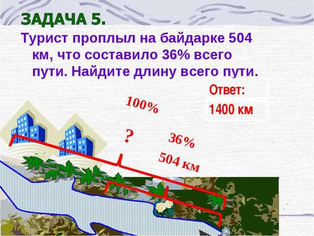 Турист проплыл на байдарке 504 км, что составило 36% всего пути. Найдите длин...