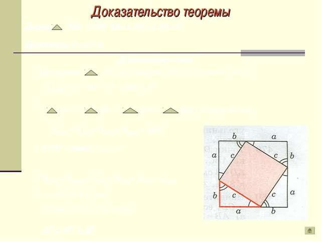 Доказательство теоремы 1. Достроим АВС до квадрата СКРД со стороной ( а + в )...