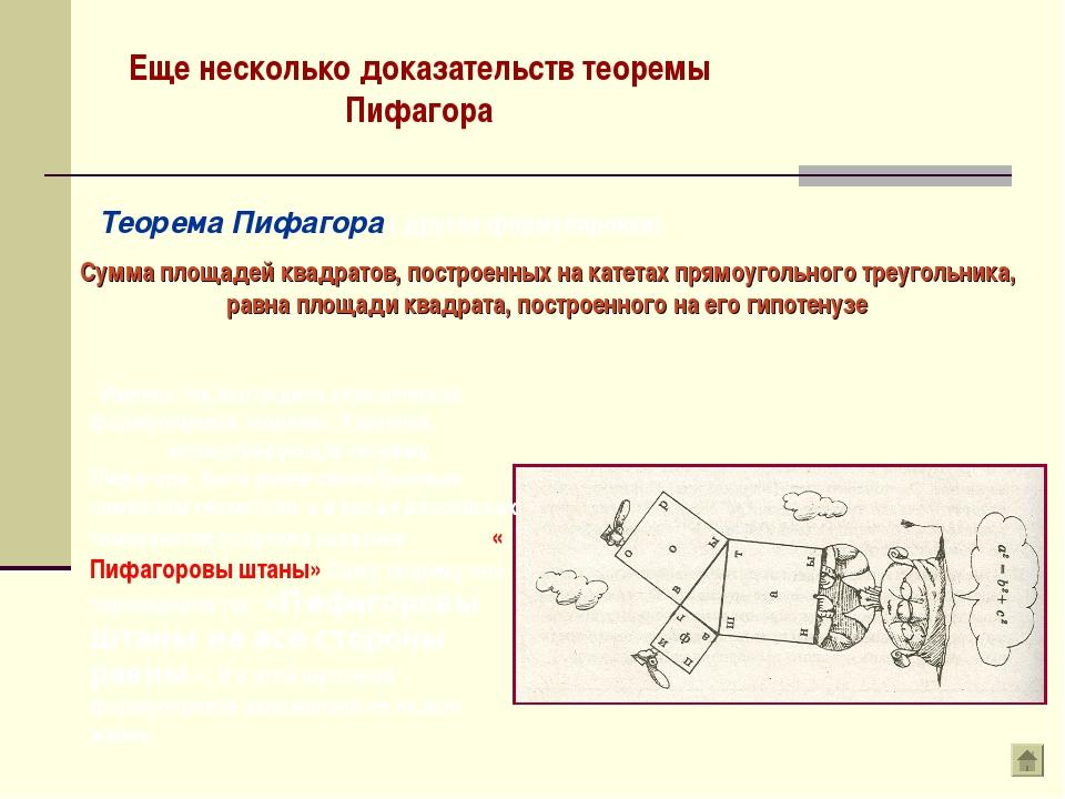 Еще несколько доказательств теоремы Пифагора Теорема Пифагора ( другая формул...