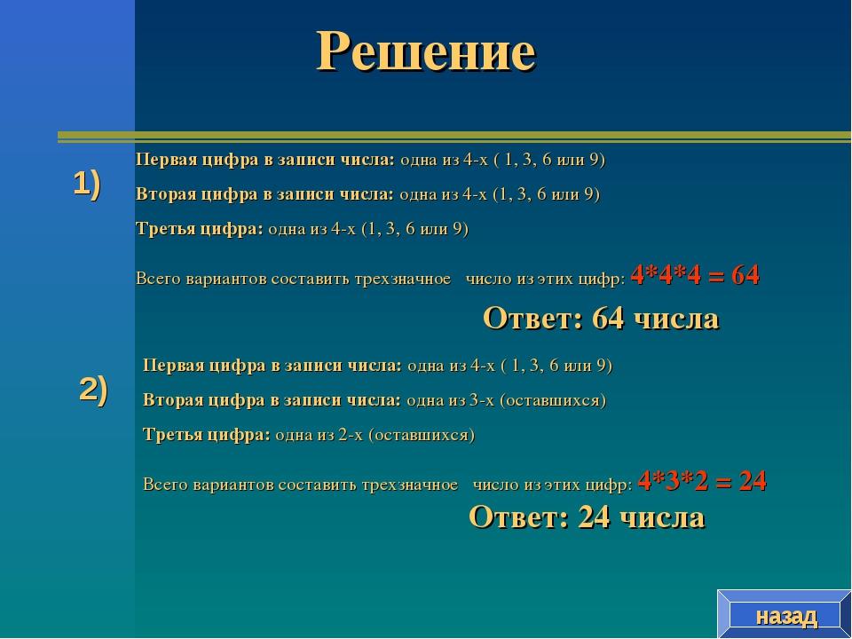Решение назад Первая цифра в записи числа: одна из 4-х ( 1, 3, 6 или 9) Втора...