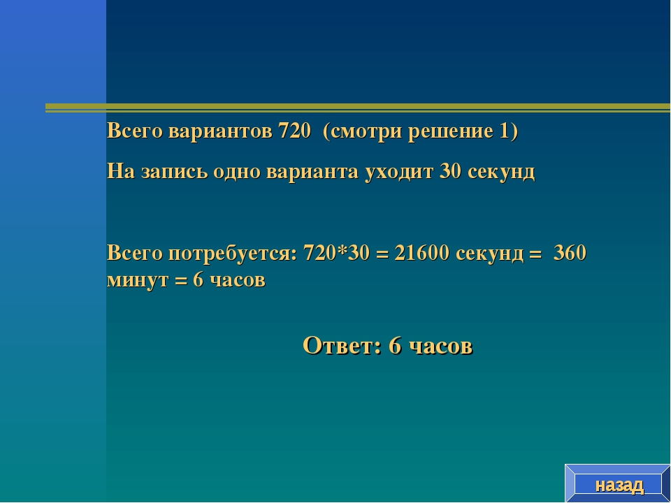 назад Всего вариантов 720 (смотри решение 1) На запись одно варианта уходит 3...