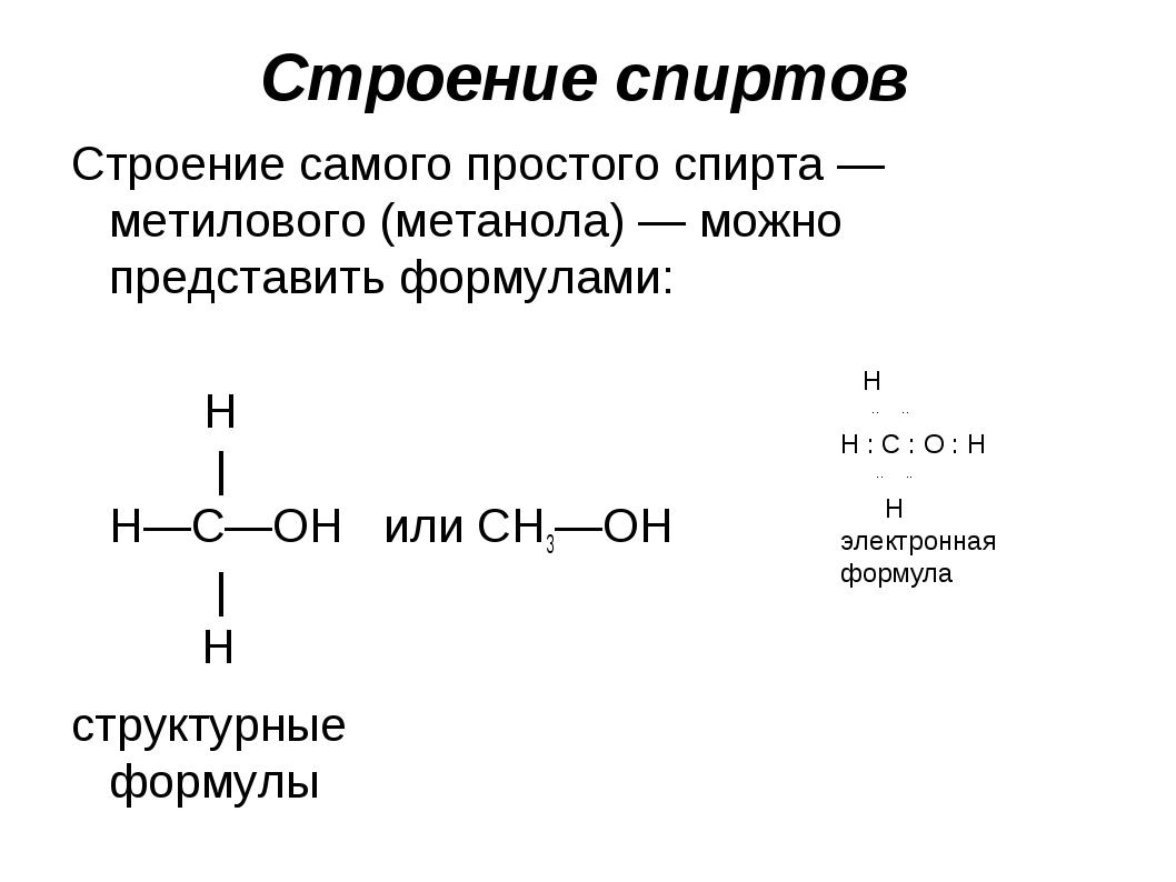 Строение самого простого спирта — метилового (метанола) — можно представить ф...