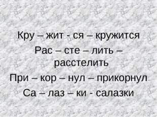 Кру – жит - ся – кружится Рас – сте – лить – расстелить При – кор – нул – при