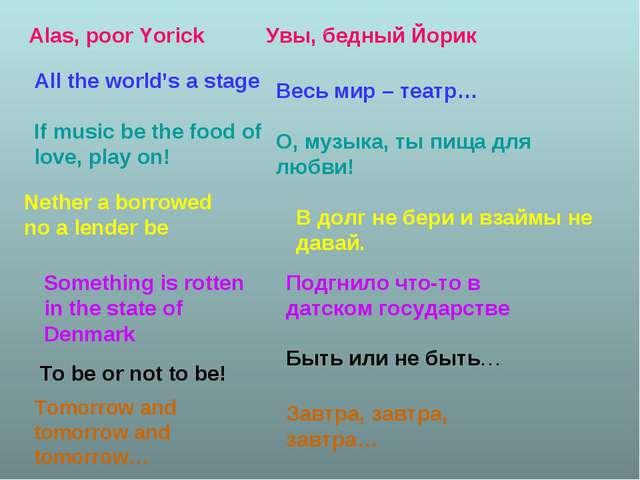 Alas, poor Yorick Увы, бедный Йорик All the world's a stage Весь мир – театр…...