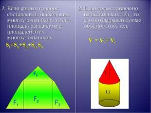 2. Если многоугольник составлен из нескольких многоугольников , то его площад