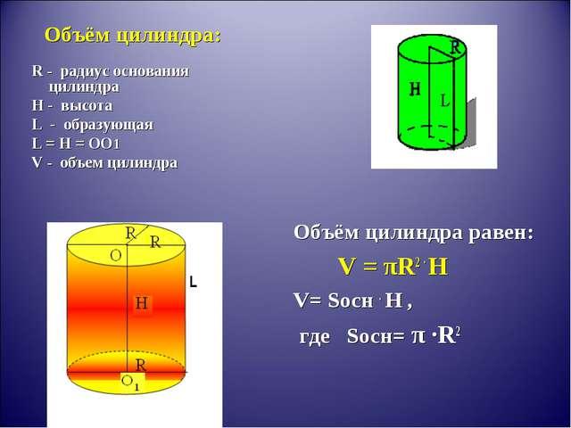 Объём цилиндра: R - радиус основания цилиндра H - высота L - образующая L = H...