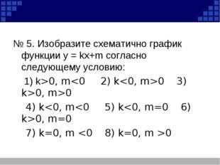 № 5. Изобразите схематично график функции у = kх+m согласно следующему услов