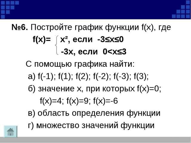 №6. Постройте график функции f(х), где f(х)= х², если -3≤х≤0 -3х, если 0