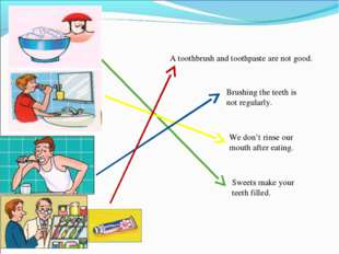 Sweets make your teeth filled. Brushing the teeth is not regularly. We don't