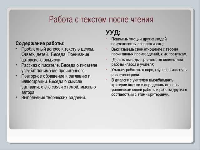 Работа с текстом после чтения Содержание работы: Проблемный вопрос к тексту в...