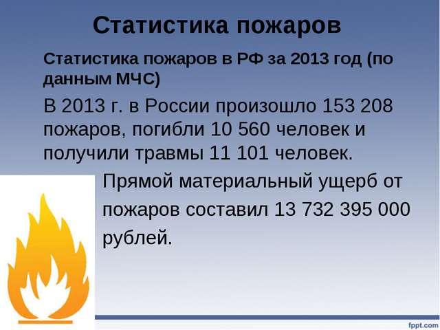 Статистика пожаров Статистика пожаров в РФ за 2013 год (по данным МЧС) В 20...