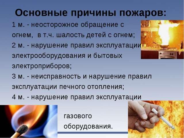 Основные причины пожаров: 1 м. - неосторожное обращение с огнем, в т.ч. шалос...