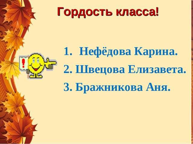 Гордость класса! Нефёдова Карина. 2. Швецова Елизавета. 3. Бражникова Аня.