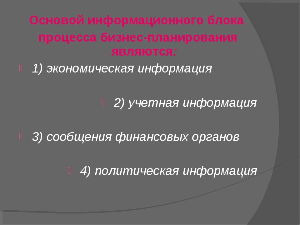 Основой информационного блока процесса бизнес-планирования являются: 1) эконо...