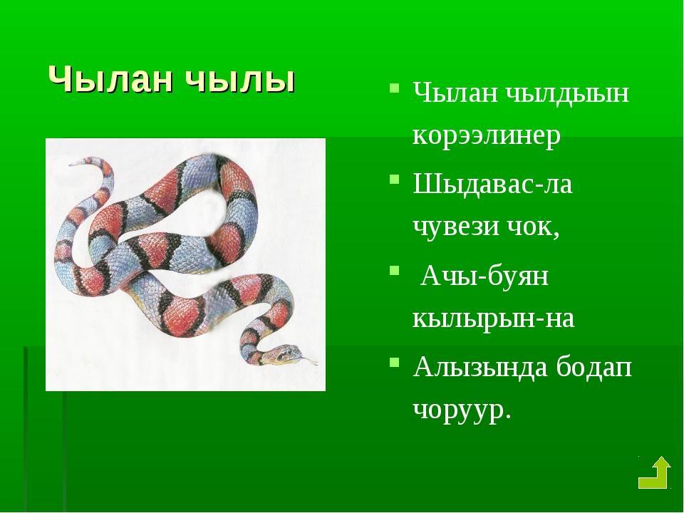 Чылан чылы Чылан чылдыын корээлинер Шыдавас-ла чувези чок, Ачы-буян кылырын...