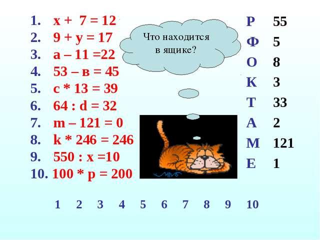 х + 7 = 12 9 + у = 17 а – 11 =22 53 – в = 45 с * 13 = 39 64 : d = 32 m – 121...