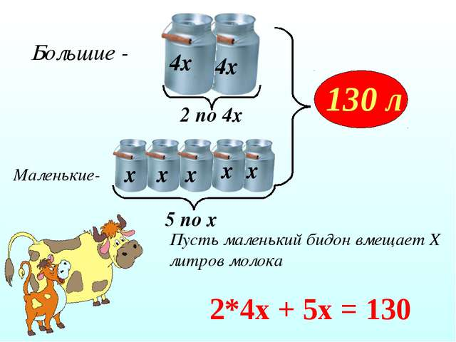 Большие - Маленькие- Пусть маленький бидон вмещает Х литров молока 2*4х + 5х...