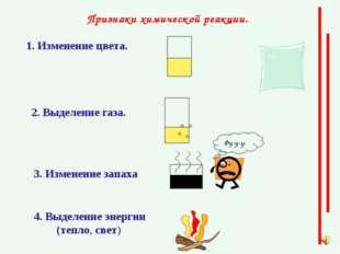 Признаки химической реакции. 1. Изменение цвета. 2. Выделение газа. З. Измене