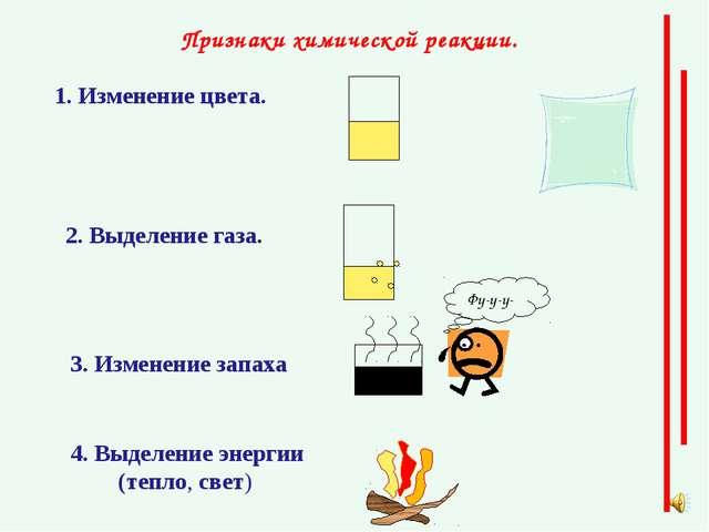 Признаки химической реакции. 1. Изменение цвета. 2. Выделение газа. З. Измене...
