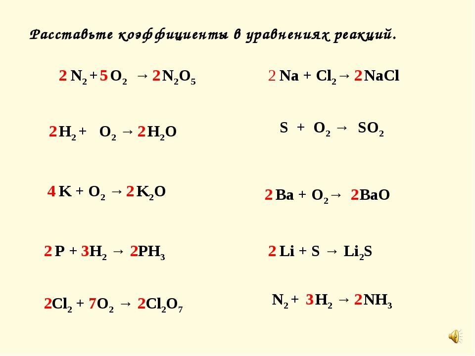 Расставьте коэффициенты в уравнениях реакций. N2 + O2 → N2O5 H2 + O2 → H2O K...