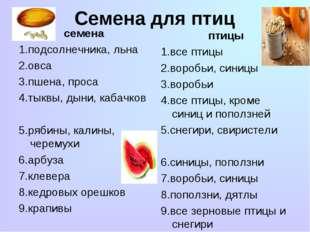 Семена для птиц семена 1.подсолнечника, льна 2.овса 3.пшена, проса 4.тыквы, д