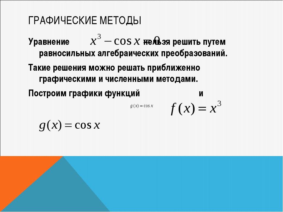 ГРАФИЧЕСКИЕ МЕТОДЫ Уравнение нельзя решить путем равносильных алгебраических...