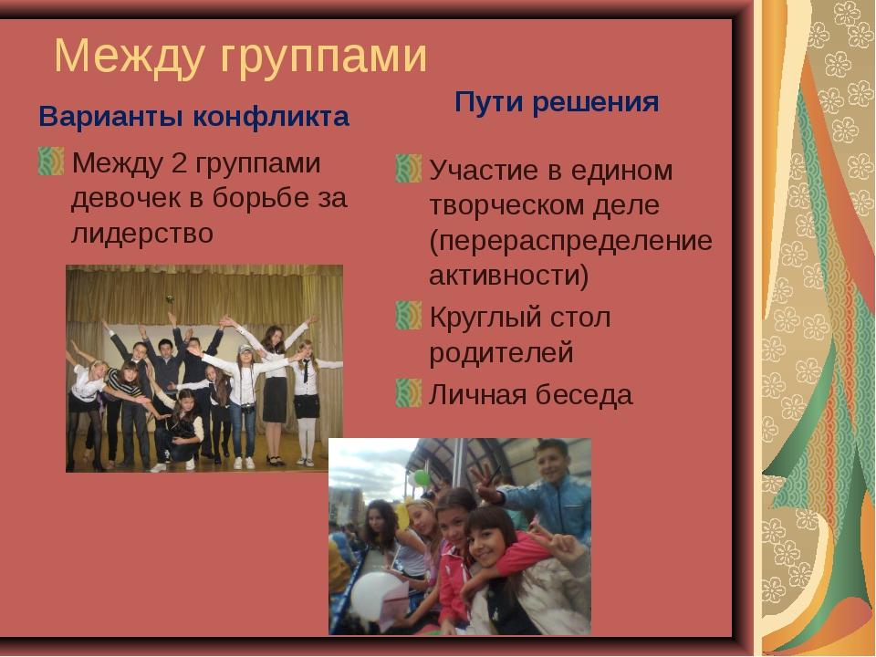 Между группами Варианты конфликта Между 2 группами девочек в борьбе за лидерс...