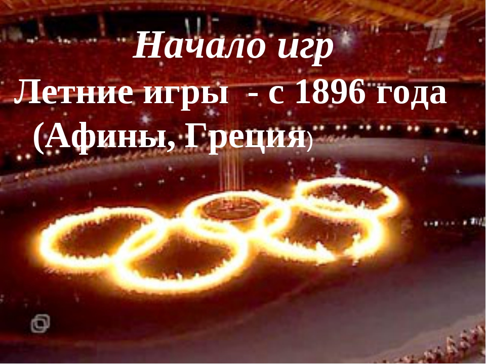 Начало игр Летние игры - с 1896 года (Афины, Греция)