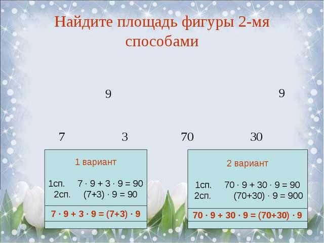 Найдите площадь фигуры 2-мя способами 7 3 70 30 7 ∙ 9 + 3 ∙ 9 = (7+3) ∙ 9 70...