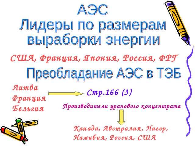 США, Франция, Япония, Россия, ФРГ Литва Франция Бельгия Стр.166 (3) Производи...