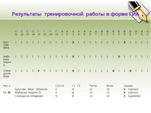 Результаты тренировочной работы в форме ГИА Ск1С к2Ск3Ск4Г к1Г к2Г к3