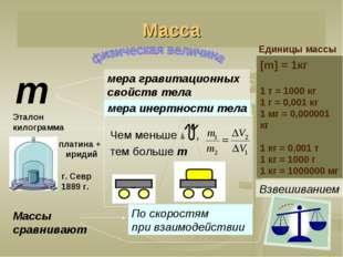 Масса Единицы массы m мера инертности тела Чем меньше , тем больше m Взвешива