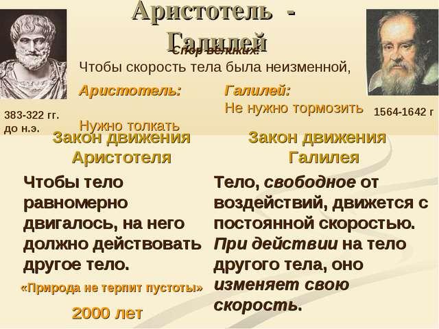 Аристотель - Галилей Закон движения Аристотеля Чтобы тело равномерно двигалос...