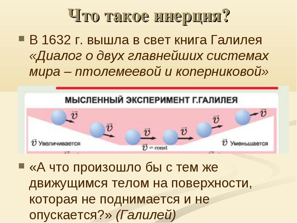 Что такое инерция? В 1632 г. вышла в свет книга Галилея «Диалог о двух главне...