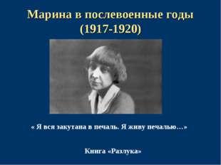 Марина в послевоенные годы (1917-1920) « Я вся закутана в печаль. Я живу печа