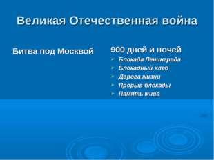 Великая Отечественная война Битва под Москвой 900 дней и ночей Блокада Ленинг